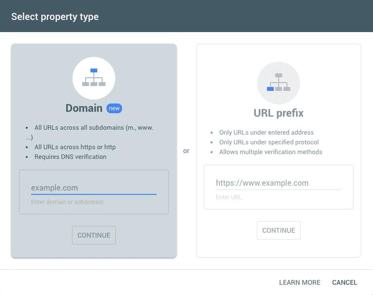 Google Search Console, nuova proprietà dominio