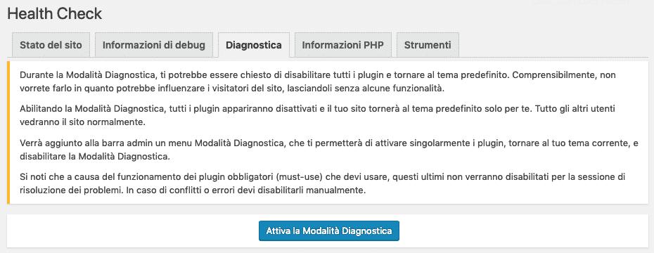 Health Check Avvia Diagnostica