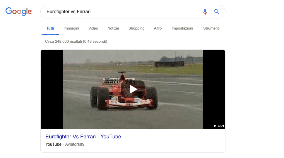 Google   Esempio Featured Snippet Video