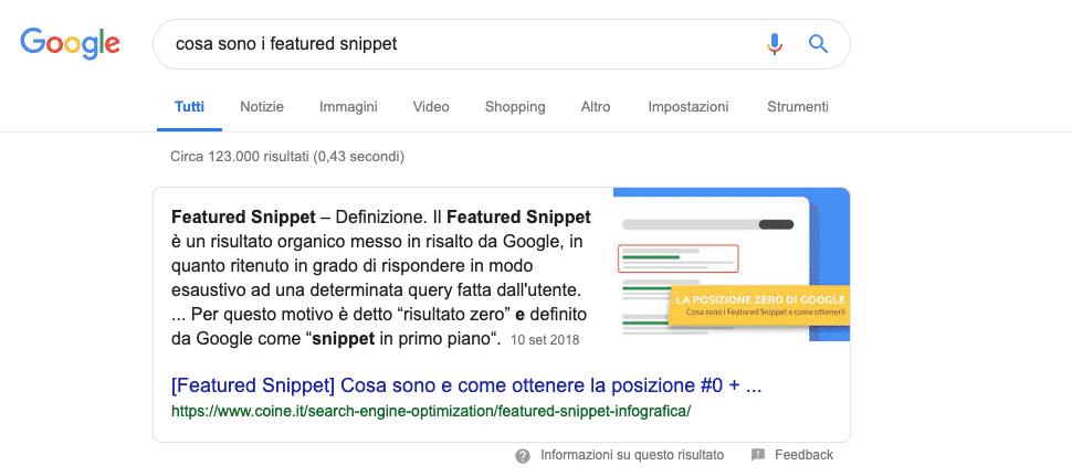 Google   Esempio Featured Snippet Paragraph