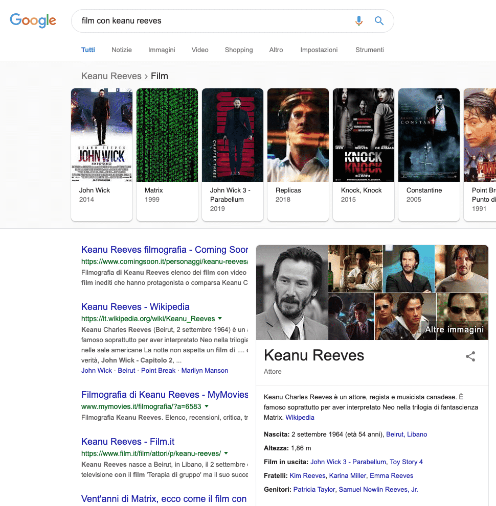 Google   Esempio Knowledge Graph