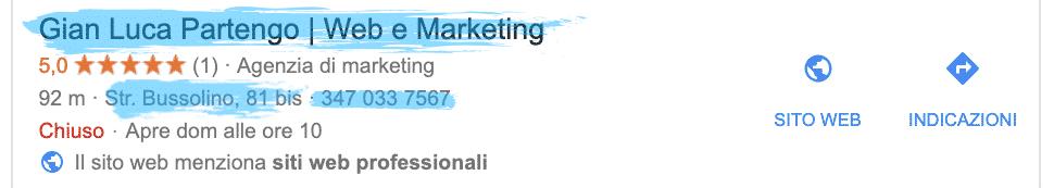 Esempio NAP (Name, Address, Phone) della tua attività commerciale