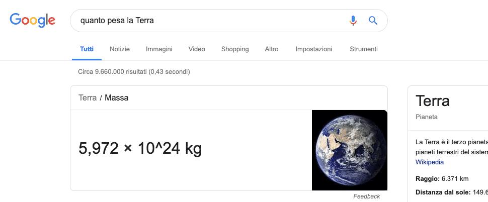 Google   Esempio Rich Answer