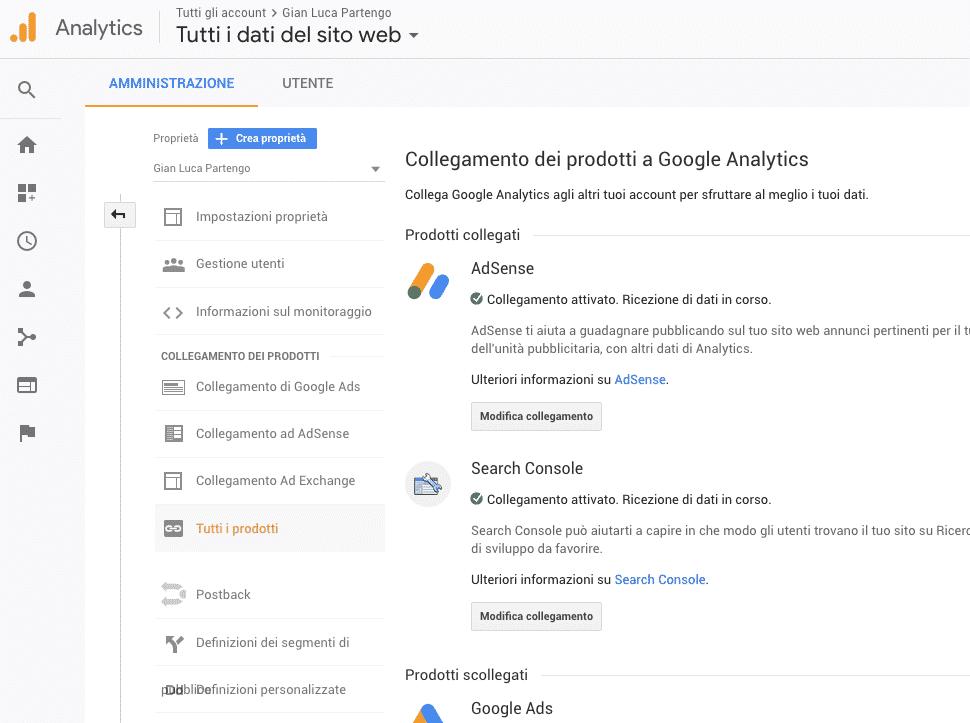 Collegamento Analytics, altro strumento SEO