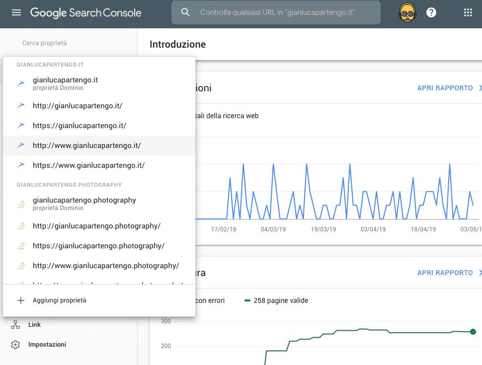 Google Search Console Tutti i domini