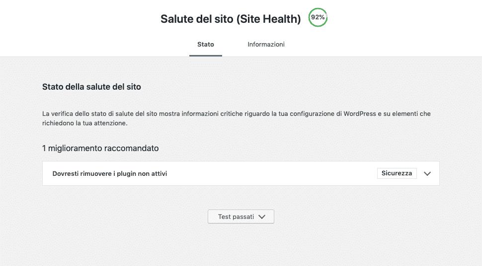 Site Health di WordPress 5.2 | Errori