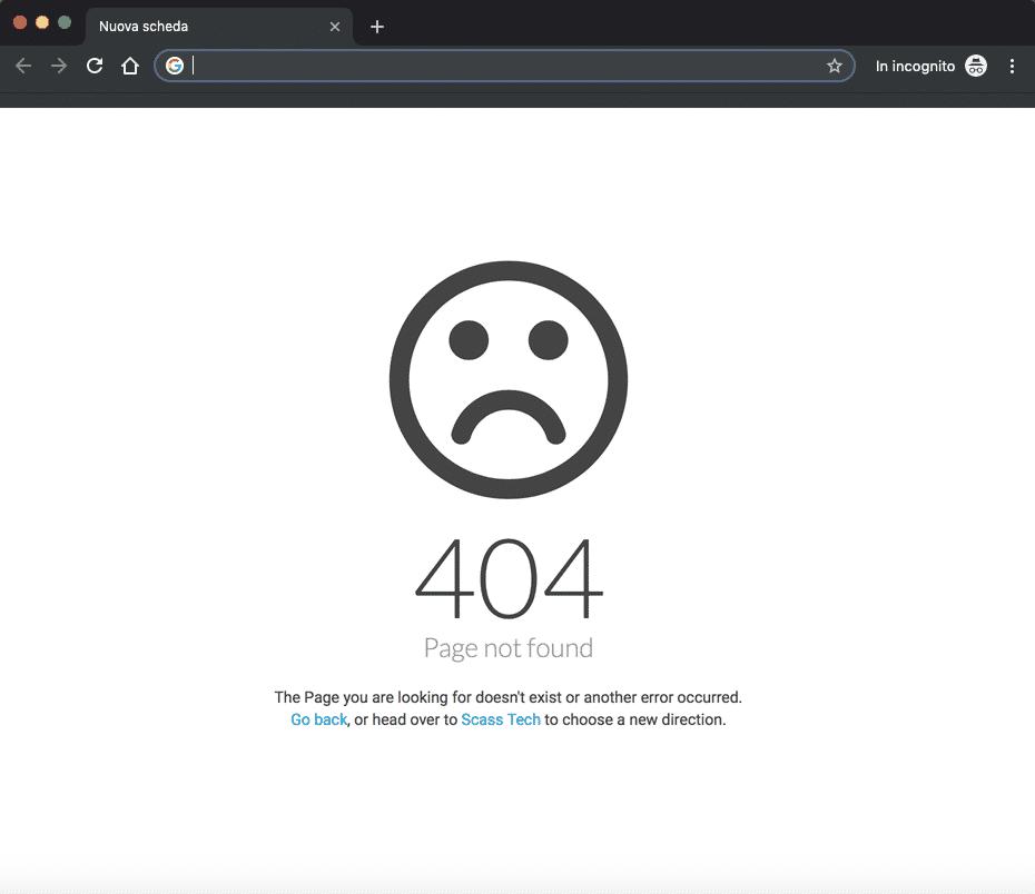 Errore 404 | Pagina non trovata standard