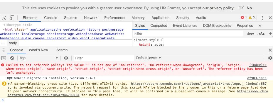Errori JS | Console di Google Chrome