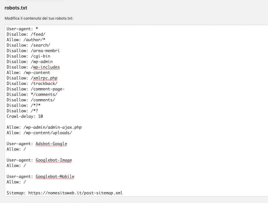 Errori SEO Organica: File robots.txt