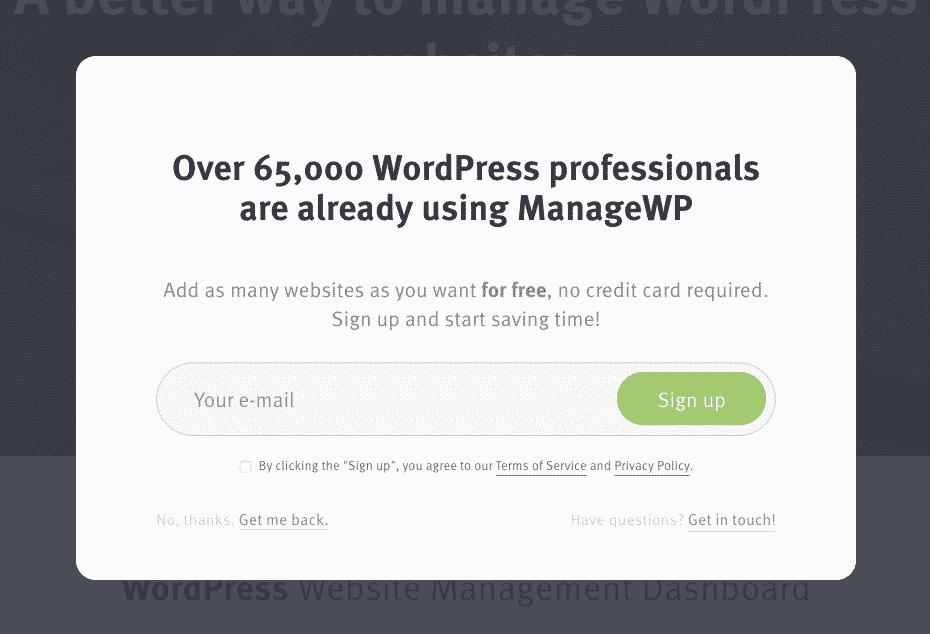 ManageWP | Sign Up popup