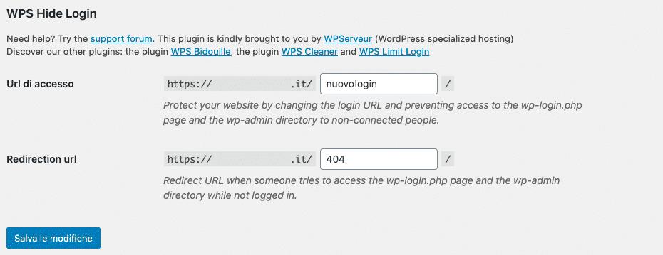 Mettere in sicurezza WordPress. WPS Hide Login | WordPress Plugin