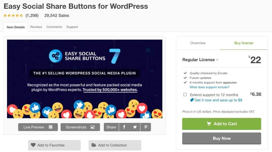 Pulsanti Condivisione Social | Plugin - Easy Social Share Buttons