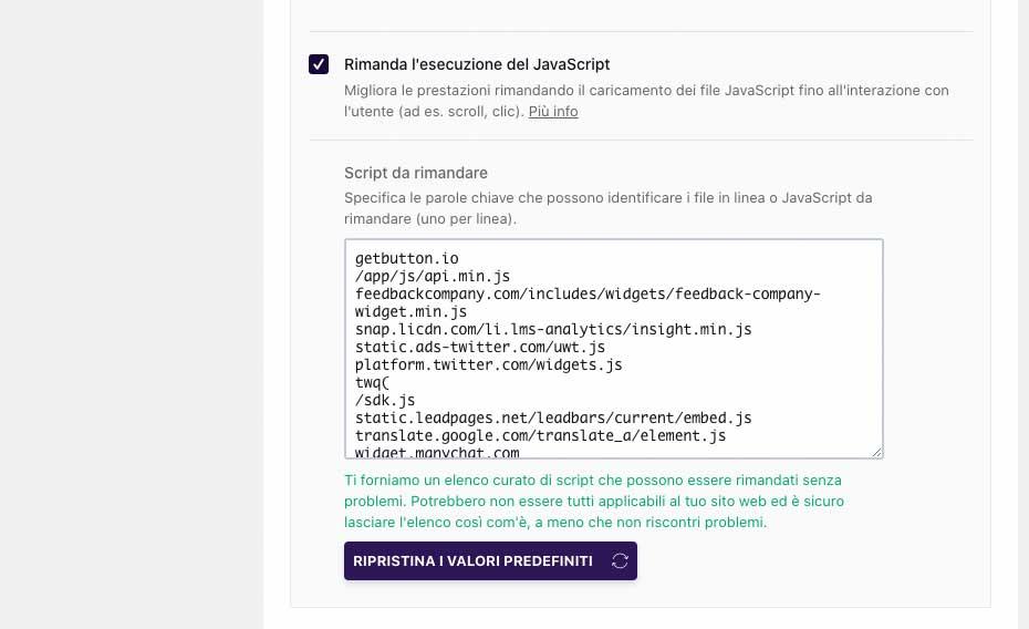 WP Rocket 3.7   Delay JavaScript Execution