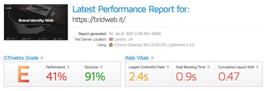 GTmetrix | Valutazione gennaio 2021 di bridweb.it