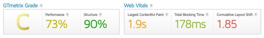 GTmetrix | Nuovi parametri di controllo Web Vitals