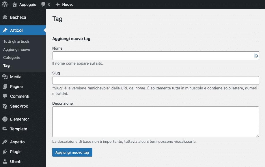 WordPress, Categorie vs Tag | Aggiungere tag