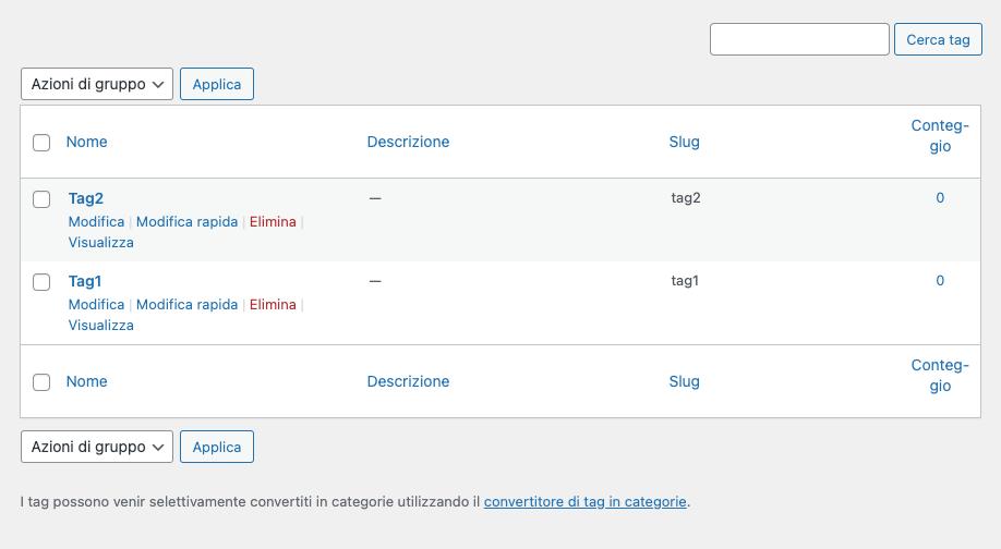 WordPress, Categorie vs Tag | Elenco tag