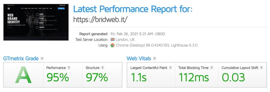 GTmetrix | Valutazione febbraio 2021 di bridweb.it Classe A