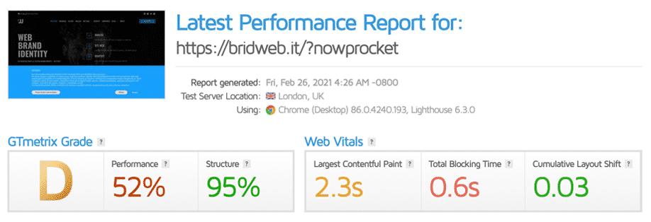 GTmetrix | Valutazione febbraio 2021 di bridweb.it NO WP ROCKET