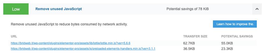 GTmetrix | Valutazione febbraio 2021 di bridweb.it Unused JS