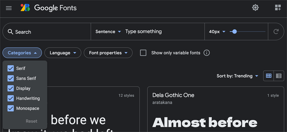 Google fonts | Modulo di ricerca, opzione categorie