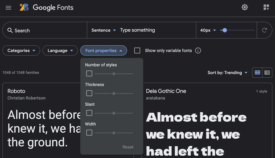Google fonts | Modulo di ricerca, opzione proprietà