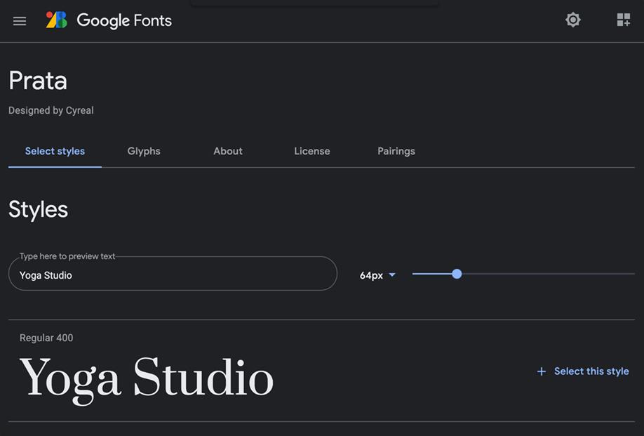 Google fonts | Modulo di ricerca, Simulazione nome Brand con filtro categoria Serif e selezione font PRATA