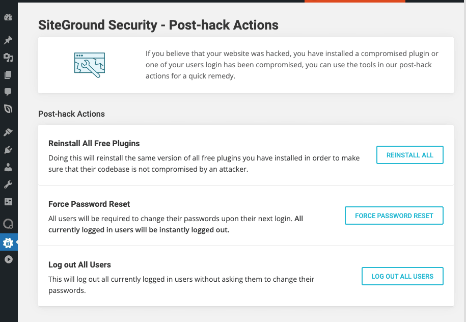 SiteGround Security Plugin - Interfaccia Azioni Post Attacco