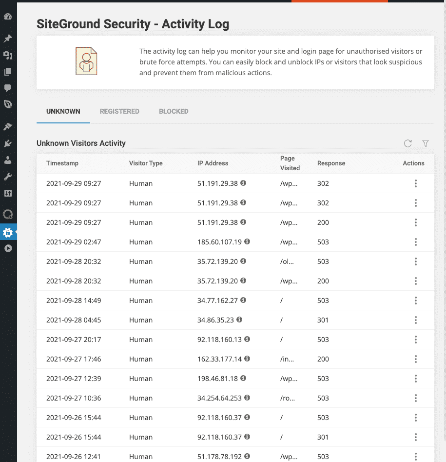 SiteGround Security Plugin - Interfaccia Log Attacchi