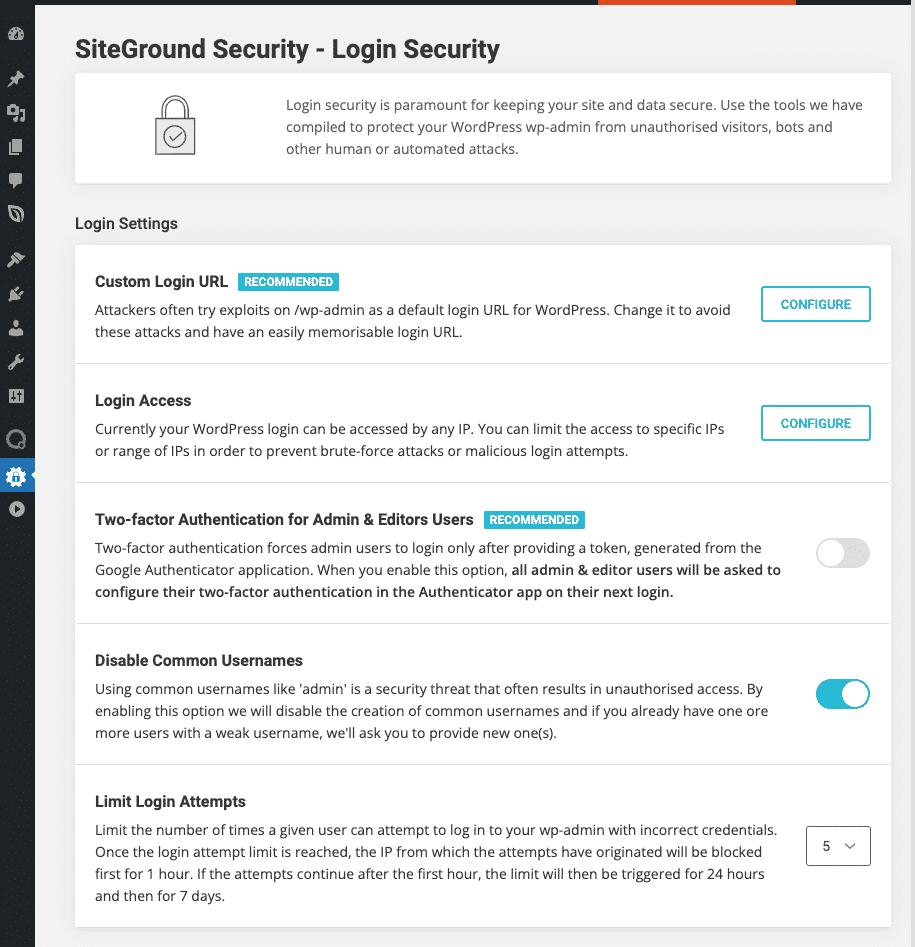 SiteGround Security Plugin - Interfaccia Sicurezza Login